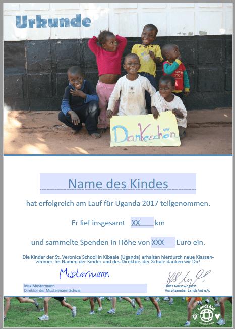 Urkunde Spendenlauf LandsAid
